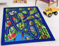 "HR-Kids Rugs City map (4'11"" x 6'11"") Boys/Girls/Children/Toddler Educational Play mat for School/Daycare/Nursery Non-Slip Area Rug (Gray/Multi)"