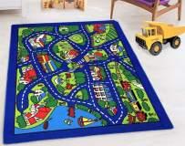 "HR-Kids Rugs City map (4'11"" x 6'11"") Boys/Girls/Children/Toddler Educational Play mat for School/Daycare/Nursery Non-Slip Area Rug (Gray/Multi)"