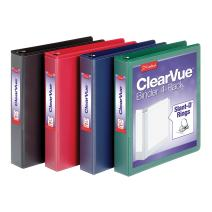 Cardinal 1.5 Inch 3 Ring Binder, D Ring, Assorted, Black, Red, Blue, Green 4 Pack, Holds 375 Sheets (29300)