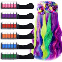 Kalolary 6 Colors Hair Chalk Comb Set, Non-toxic Washable Hair Chalk Comb for Birthday Party Masquerade Carnival Cosplay DIY Girls Gift Age 4 5 6 7 8 9 10+