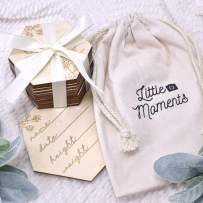 Super Cute, Floral Wooden Baby Monthly Cards. Reversible, Laser Engraved Blocks Set of 24 Sayings Plus a Customizable Birth Card. Natural Wood Disc Photo Props for Infant Girls n Keepsake Gift Bag.