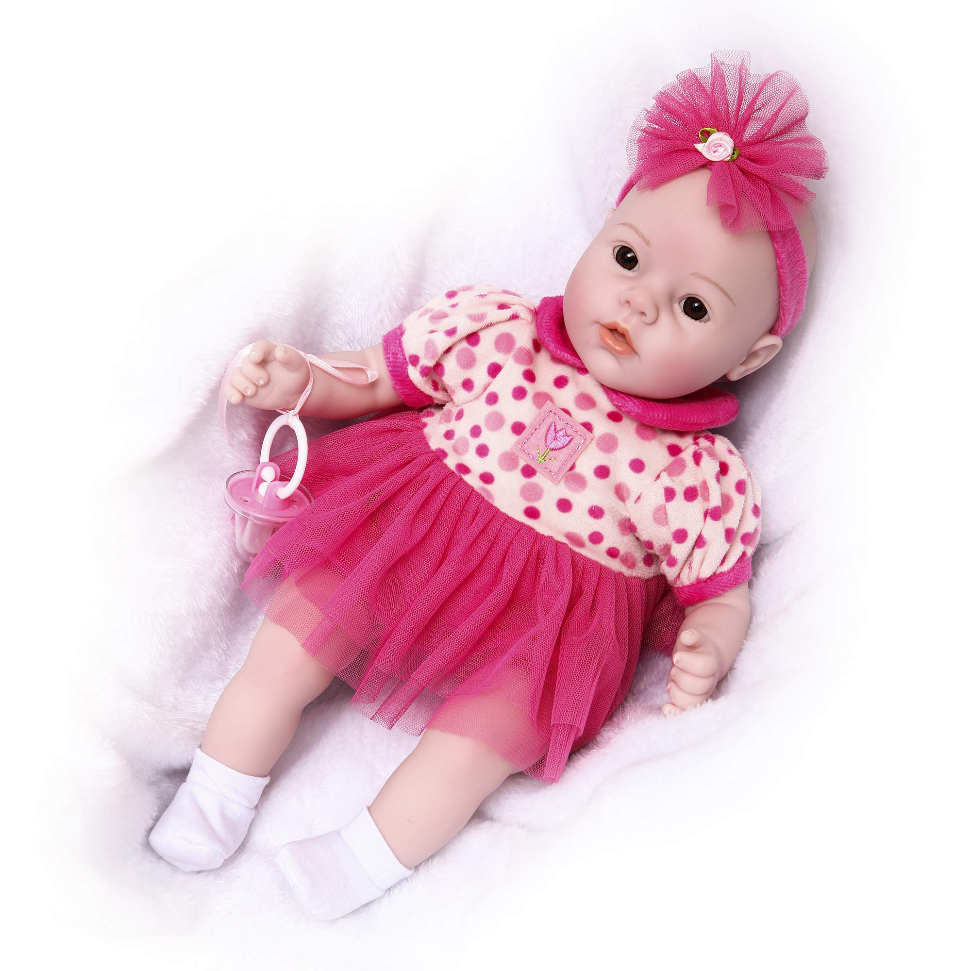 Soft Body Baby Doll, Lifelike Realistic Reborn Babies Dolls Toddler Kids Gifts Toys,(18 inch, Polk Dot Baby)