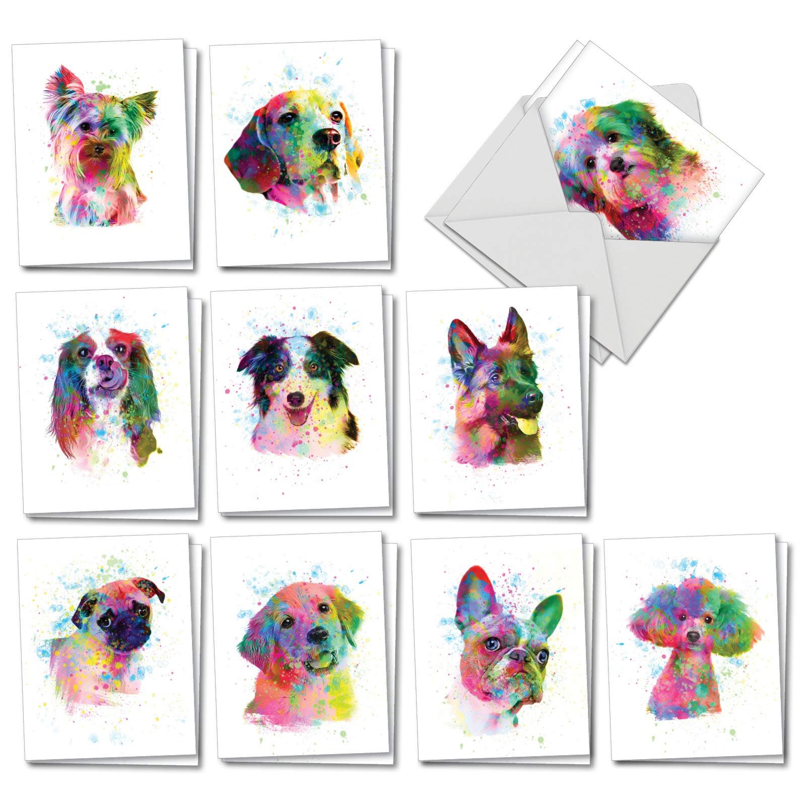 Funky Rainbow Dogs - 20 Blank All Occasion Cards with Envelopes (4 x 5.12 Inch) - Watercolor Painted Dogs, Pet Animal Note Cards - Assorted Boxed Notecard Set (10 Designs, 2 Each) AM7162OCB-B2x10