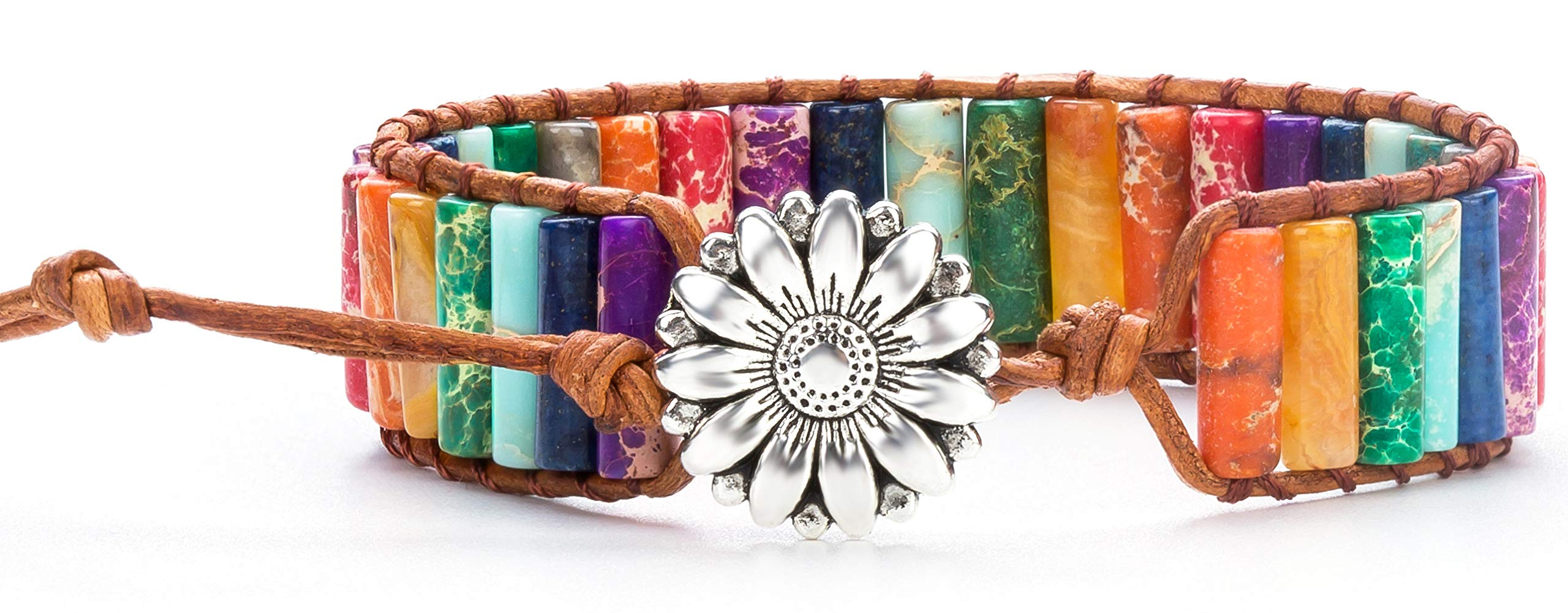 Hamoery Women Men Imperial Jasper Chakra Bracelet Handmade Leather Sunflower Adjustable Wrap Bead Bracelet