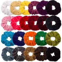 VELSCRUN 22 Pieces Hair Scrunchies Velvet Elastics Scrunchy Bobbles Soft Plush Hair Bands Hair Ties, 22 Colors