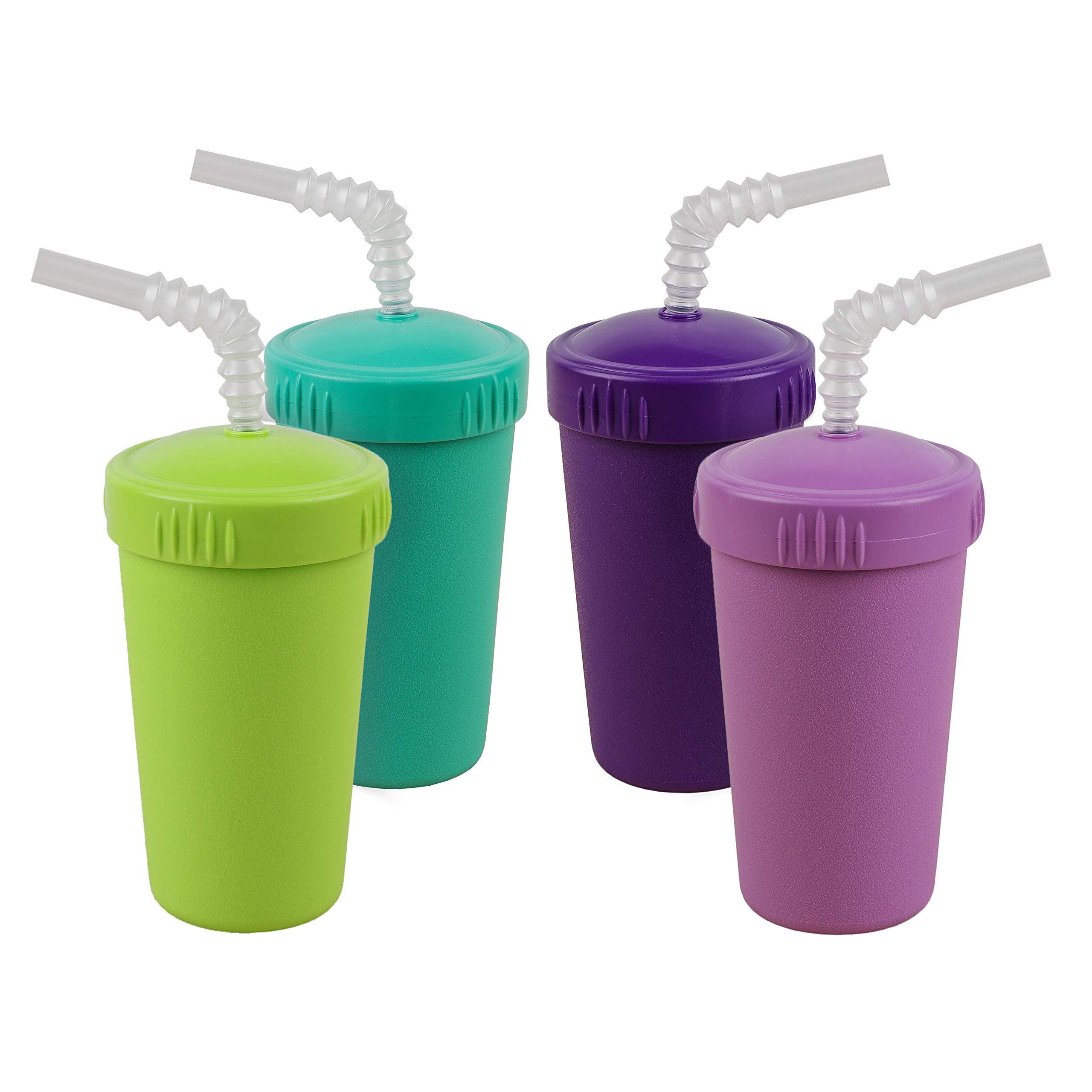 Re-Play Made in USA 4pk Straw Cups with Bendable Straw in Aqua, Purple, Lime Green and Amethyst   Made from Eco Friendly Heavyweight Recycled Milk Jugs - Virtually Indestructible (Mermaid+)