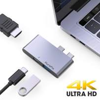 """PureFix USB C to 4K HDMI Hub Adapter, 3-in-1 Type c Extension with Thunderbolt 3 (5K@60Hz Video, 40Gbps & 100W Power Delivery) and USB 3.0 Port, for MacBook Pro 2016-2020 13"""" 15"""" 16"""" & MacBook Air"""