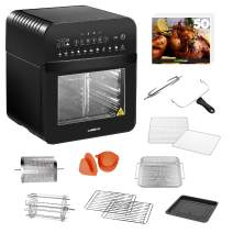 GoWISE USA GW44803 Ultra 12.7-Quart Electric Air Fryer Oven with Rotisserie and Dehydrator + 11 Accessories and 50 Recipes, Black, QT