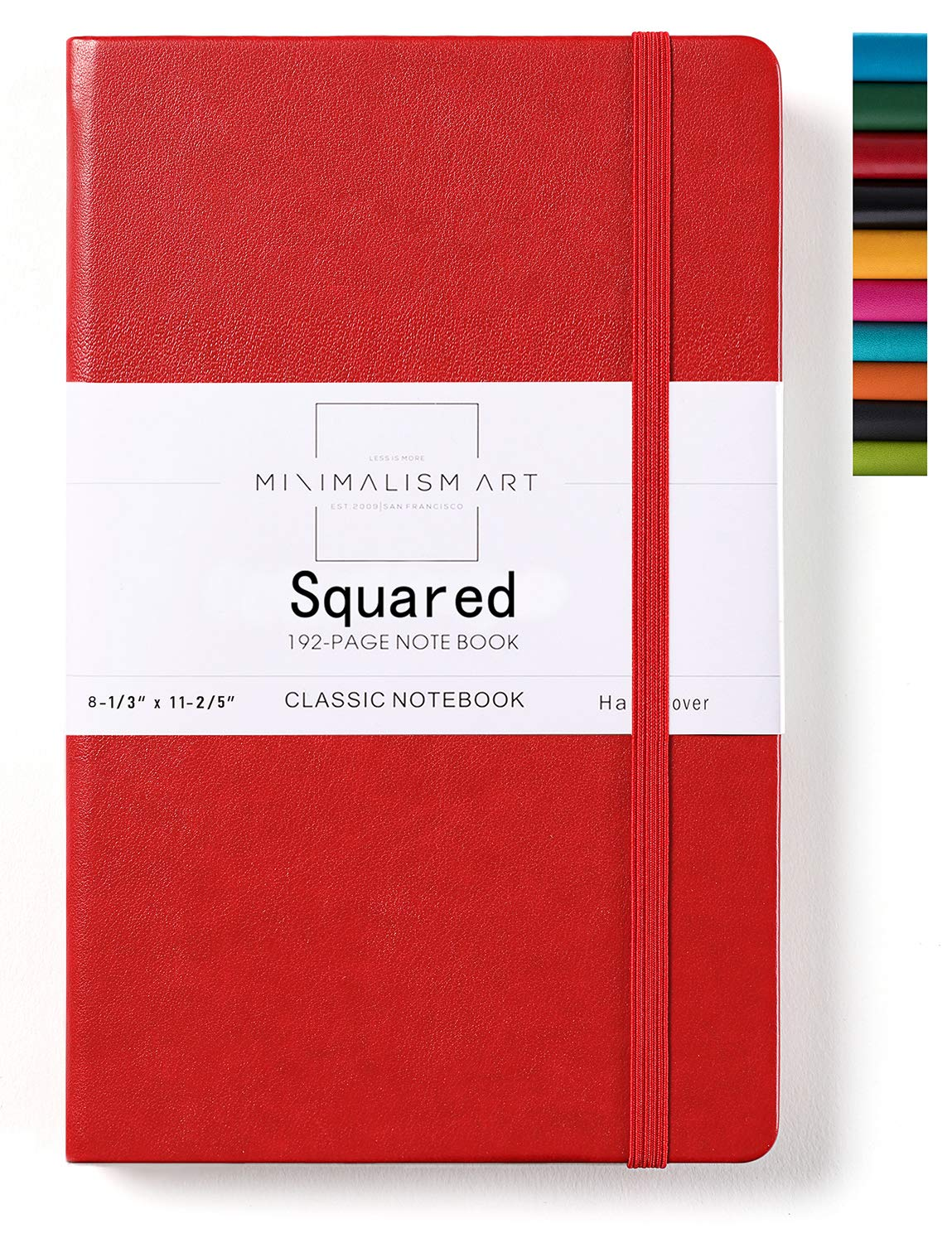 Minimalism Art, Classic Notebook Journal, A4 Size 8.3 X 11.4 inches, Red, Squared Grid Page, 192 Pages, Hard Cover, Fine PU Leather, Inner Pocket, Quality Paper-100gsm, Designed in San Francisco