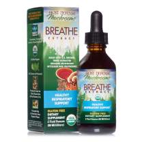 Host Defense, Breathe Extract, Respiratory Support, Mushroom Supplement with Cordyceps, Reishi and Chaga, Vegan, Organic, 2 oz (60 Servings)