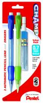 Pentel Champ Automatic Pencil with Lead and 2 Erasers, 0.7mm, Assorted Barrels, 2 Pack (AL17LEBP2)
