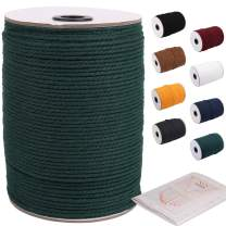 Deep Green Macrame Cord 3mm x 220yards, Colored Macrame Rope, Cotton Rope Macrame Yarn, Colorful Cotton Craft Cord for Wall Hanging, Plant Hangers, Crafts, Knitting & Crocheting