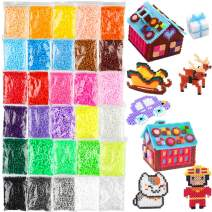 [8 Color Glow in The Dark] 24000 Pcs Value Pack Fuse Beads 5mm 30 Colors, Bulk Assorted Multicolor Fuse Beads for Kids and Children Crafts with Ironing Papaer