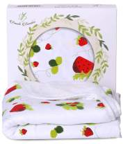 Bambi Bamboo Hooded Baby Towel - Luxury Spa Soft for Sensitive Skin - Strawberry Terry Muslin Towel with Hood for Newborns, Toddlers - 2 Layers, Reversible, Hypoallergenic- Shower Registry Gift