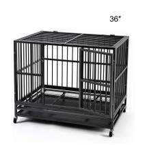 HYD-Parts Steel Large Dog Crate Cage,Heavy Duty Strong Dog Kennel Crate with Wheels 36/42/48 inches Dog Kennel