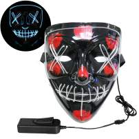 Halloween Mask Clearance LED Light Up Scary Mask for Festival Cosplay Halloween Costume Parties Masquerade Parties, Carnival, Gifts