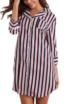 Giorzio Womens Sleep Shirt Boyfriend Sleep Shirt Dress Button Down Striped Nightgown Sleepwear