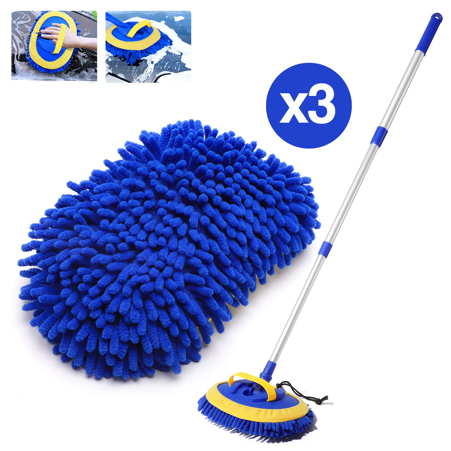 HOUSE DAY 2-in-1 Car Wash Mop Mitt Long Handle Chenille Microfiber Car Wash Dust Brush Extension Pole 180 Degree Rotation Scratch Free Cleaning Tool Dust Collector Supplies,3 Pcs Mop Heads (Blue)