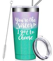 You're the Sister I Got to Choose, Sister Gifts from Sister, Sister Squad Tumblers, Like Sisters in Law Unbiological Birthday Christmas Secret Gifts for Soul Sister, Women, Friends - Glitter Mermaid