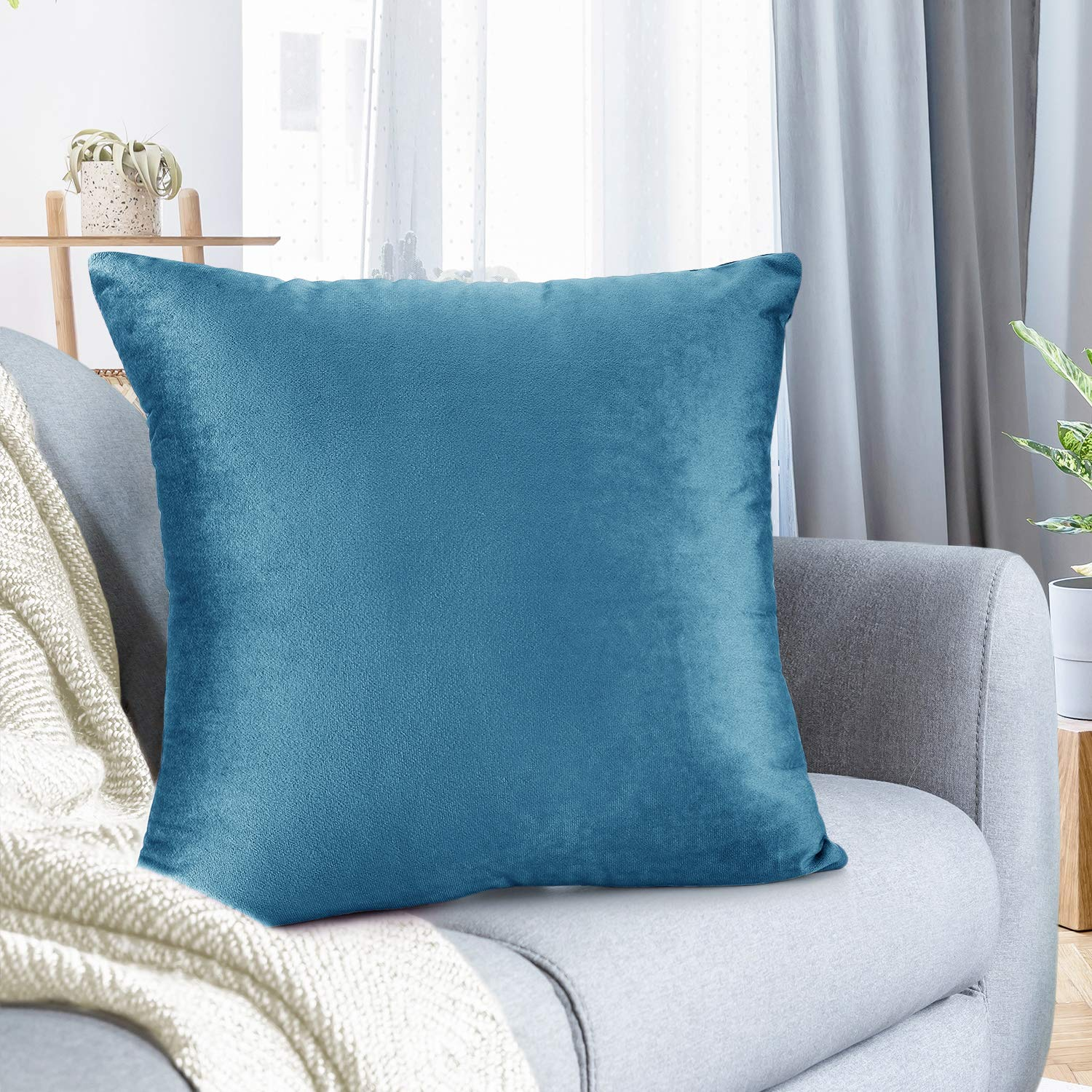 "Nestl Bedding Throw Pillow Cover 24"" x 24"" Soft Square Decorative Throw Pillow Covers Cozy Velvet Cushion Case for Sofa Couch Bedroom - Blue Heaven"