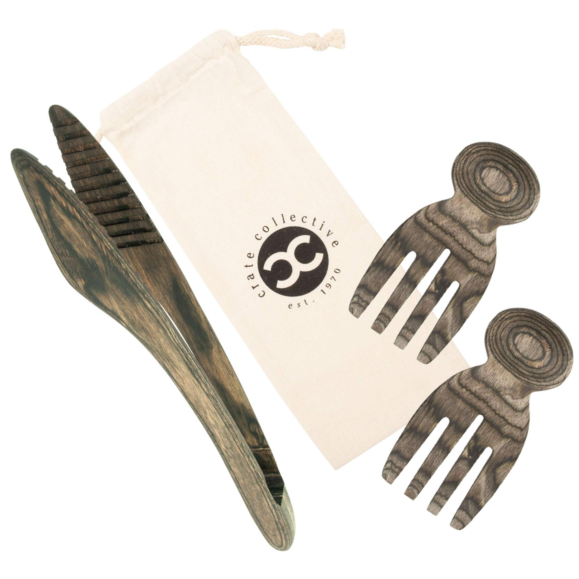 Crate Collective Salad Hands & Salad Tongs - Exotic Pakkawood Kitchen Salad Utensil Set For Serving & Tossing - Beautiful Wooden Construction + 100% Eco-friendly, BPA Free & Easy to Clean (Beechnut)