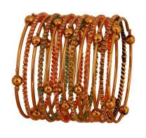 Touchstone New Colorful Bangles Collection Indian Bollywood Enchanting Multicolor Faux Silk Thread Yellow Rhinestone Designer Jewelry Bangle Bracelets. Set of 13. in Antique Gold Tone for Women.