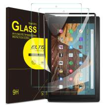 (2 Pack) ELTD Screen Protector for All New Fire HD 10 Tempered Glass Screen Protector with Installation Frame for All New Fire HD 10 2019 Release Tablet
