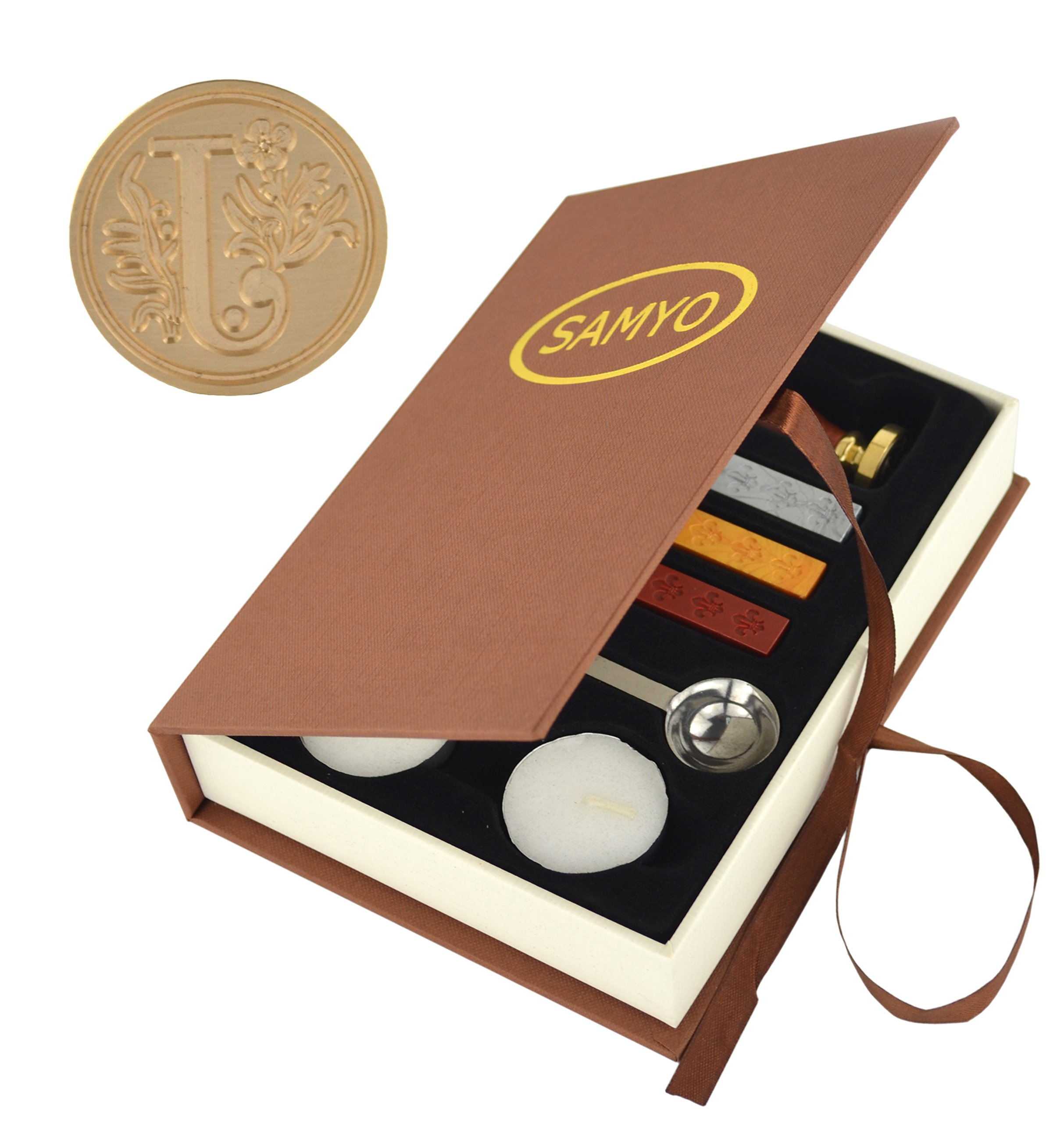 Samyo Wax Seal Stamp Kit Retro Creative Sealing Wax Stamp Maker Gift Box Set Brass Color Head with Vintage Classic Alphabet Initial Letter (J)