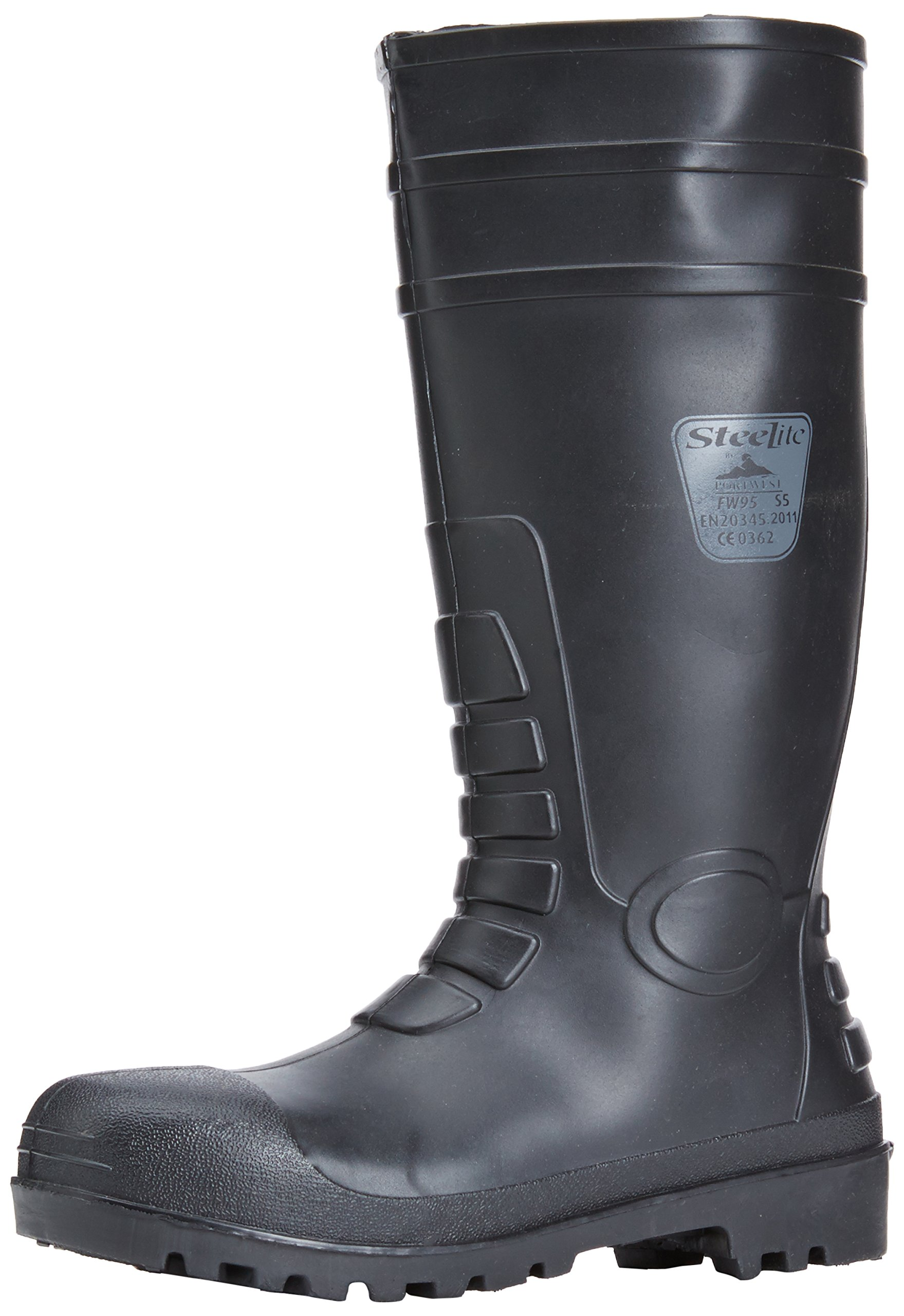 Portwest FW95 Total Safety PVC Waterproof Boot with Protective Steel Toecap ASTM, 11, Black