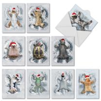 10 Assorted 'Critter Snow Angels' Season's Greetings Cards with Envelopes 4 x 5.12 inch, Adorable Animals in Santa Hats Enjoying Snow, Stationery for Christmas, New Year, Holidays M4187HHG-B1x10
