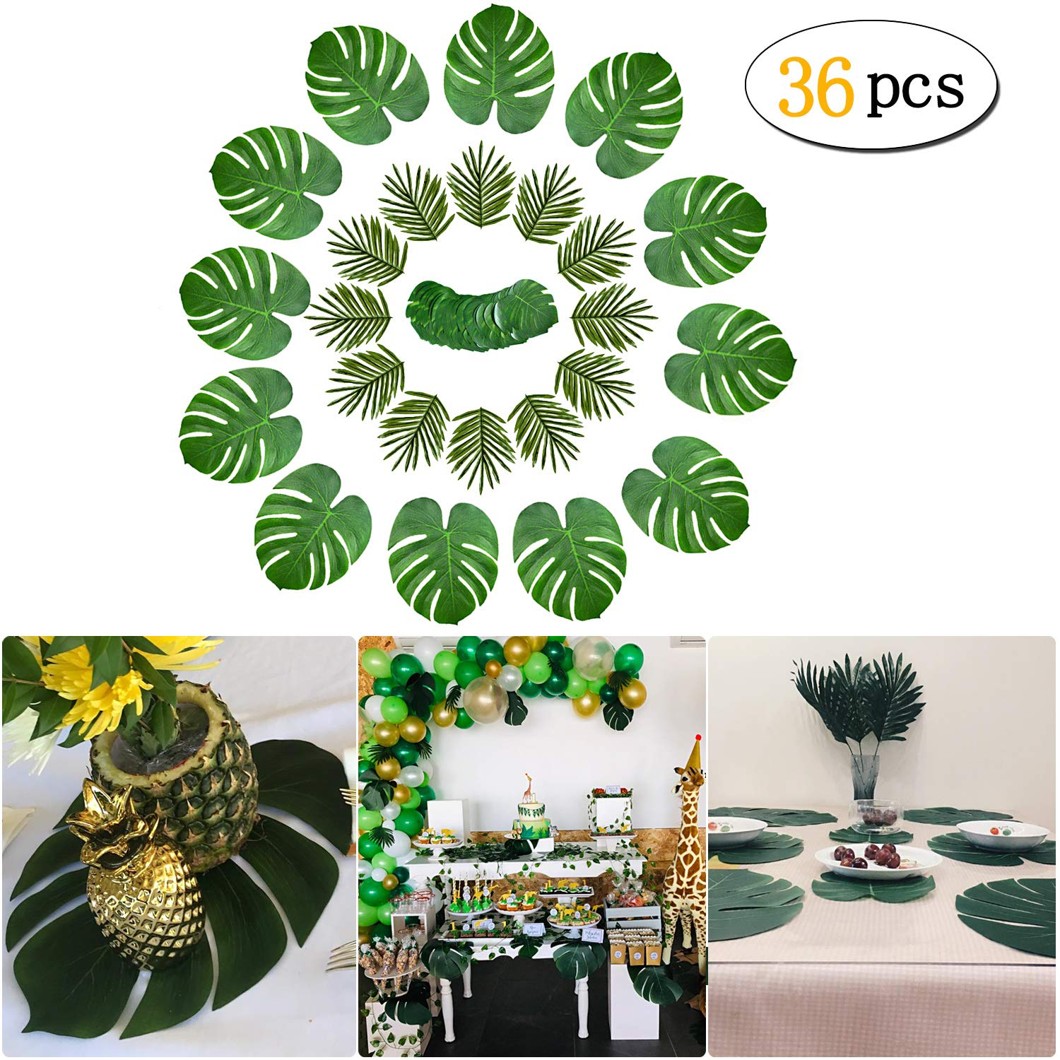 36 Pcs 3 Kinds Tropical Palm Leaves Hawaiian Artificial Green Jungle Leaves Decorations for Hawaiian Tropical Party Decorations,Jungle Luau Theme Supplies,Beach Wedding Party Table Decorations
