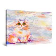 "Startonight Canvas Wall Art Cute Colored Cat Animal Painting for Kids Framed 24"" x 36"""
