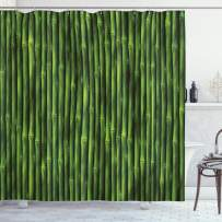 """Ambesonne Bamboo Shower Curtain, Bamboo Stems Pattern Tropical Nature Inspired Background Print Wildlife Theme, Cloth Fabric Bathroom Decor Set with Hooks, 70"""" Long, Green"""
