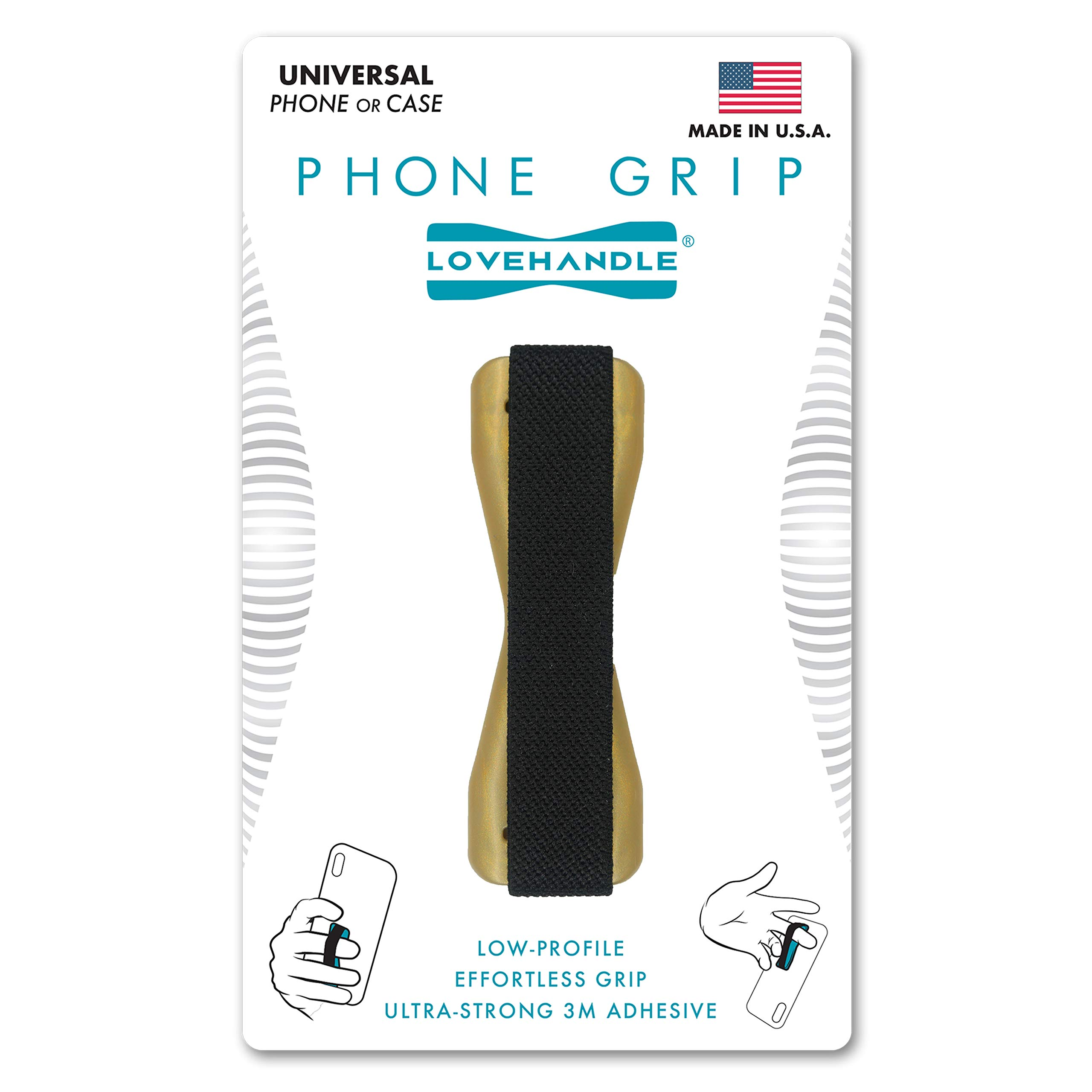 LoveHandle Universal Grip For Cell Phone and Mini Tablet - Gold Base with Black Strap - LH-01Gold
