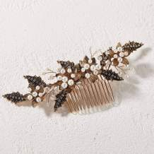SWEETV Bridal Hair Comb for Wedding Hair Accessories for Brides,Black Gold Wedding Hair Clip Pieces for Women Brides