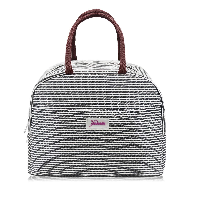 Yansanido Large Lunch Bag Best Christmas Gift (Black White Stripes)