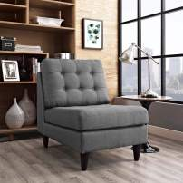 Modway Empress Mid-Century Modern Upholstered Fabric Side Armless Lounge Accent Chair in Gray