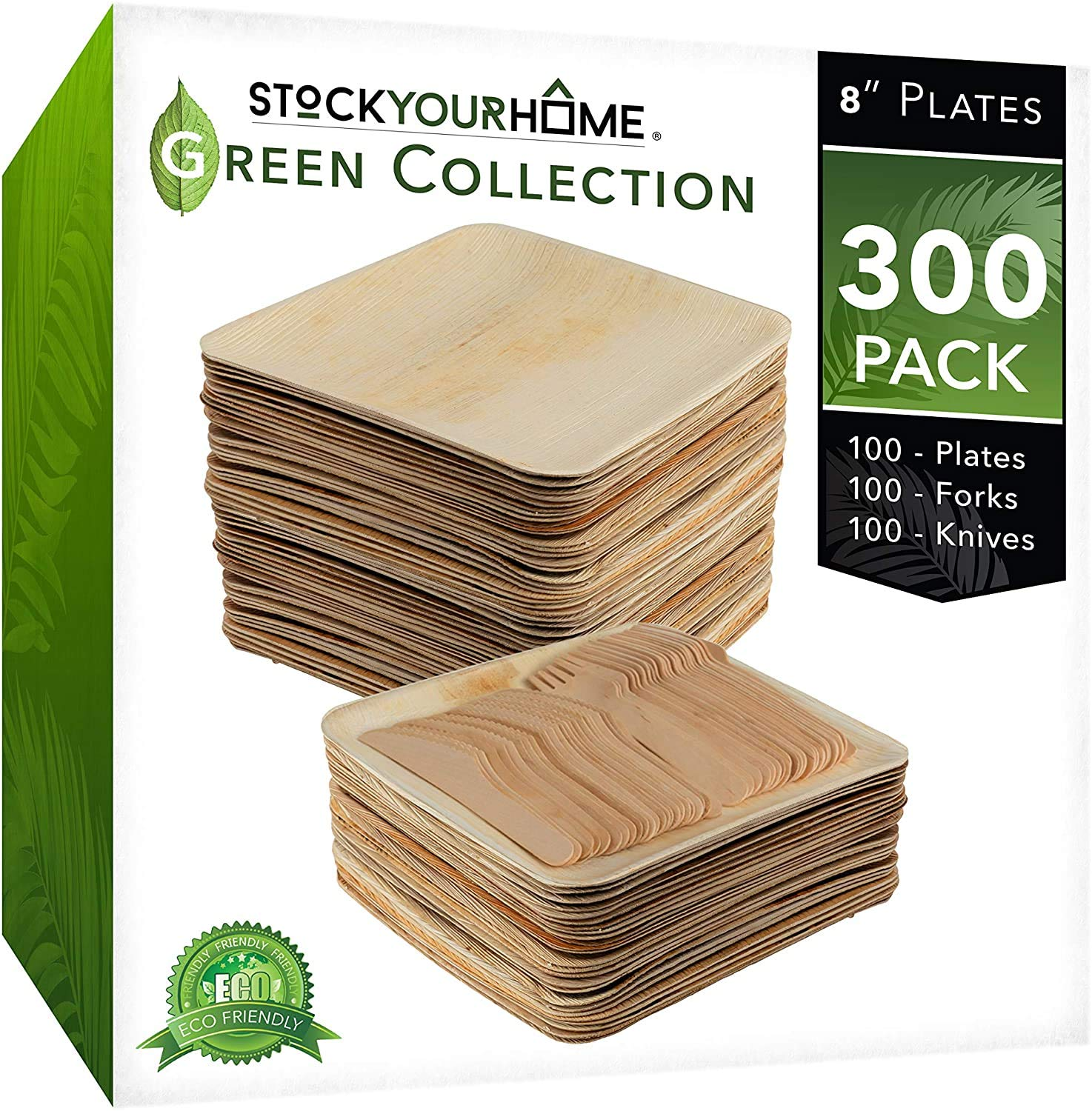 Stock Your Home Compostable Eco Friendly Bamboo Like Palm Leaf Plates and Cutlery Set, 100 Square 8 Inch Plates, 100 Wooden Forks, 100 Wooden Knives, 300 Pieces