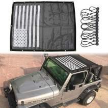 Sukemichi Durable Mesh Sunshade Bikini Top Cover USA Flag for Jeep Wrangler TJ 1996-2007 (flag)