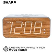 "SHARP Dual Alarm with Jumbo Easy to Read 1.8"" White LED Display and Faux Wood Finish – 3 Step Dimmer Control – Dual Alarms, Set Two Alarm Times - Battery Back-up – SPC736"