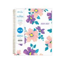 "Blue Sky 2020-2021 Academic Year Weekly & Monthly Planner, Flexible Cover, Twin-Wire Binding, 8.5"" x 11"", Preppy Floral Purple"