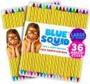 "Face Paint Crayons 36 for Kids, 36 Jumbo 3.25"" Face & Body Painting Makeup Crayons, Safe for Sensitive Skin, 8 Metallic & 28 Classic Colors, Great for Birthday Party (2 Pack)"
