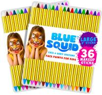 """Face Paint Crayons 36 for Kids, 36 Jumbo 3.25"""" Face & Body Painting Makeup Crayons, Safe for Sensitive Skin, 8 Metallic & 28 Classic Colors, Great for Birthday Party (2 Pack)"""