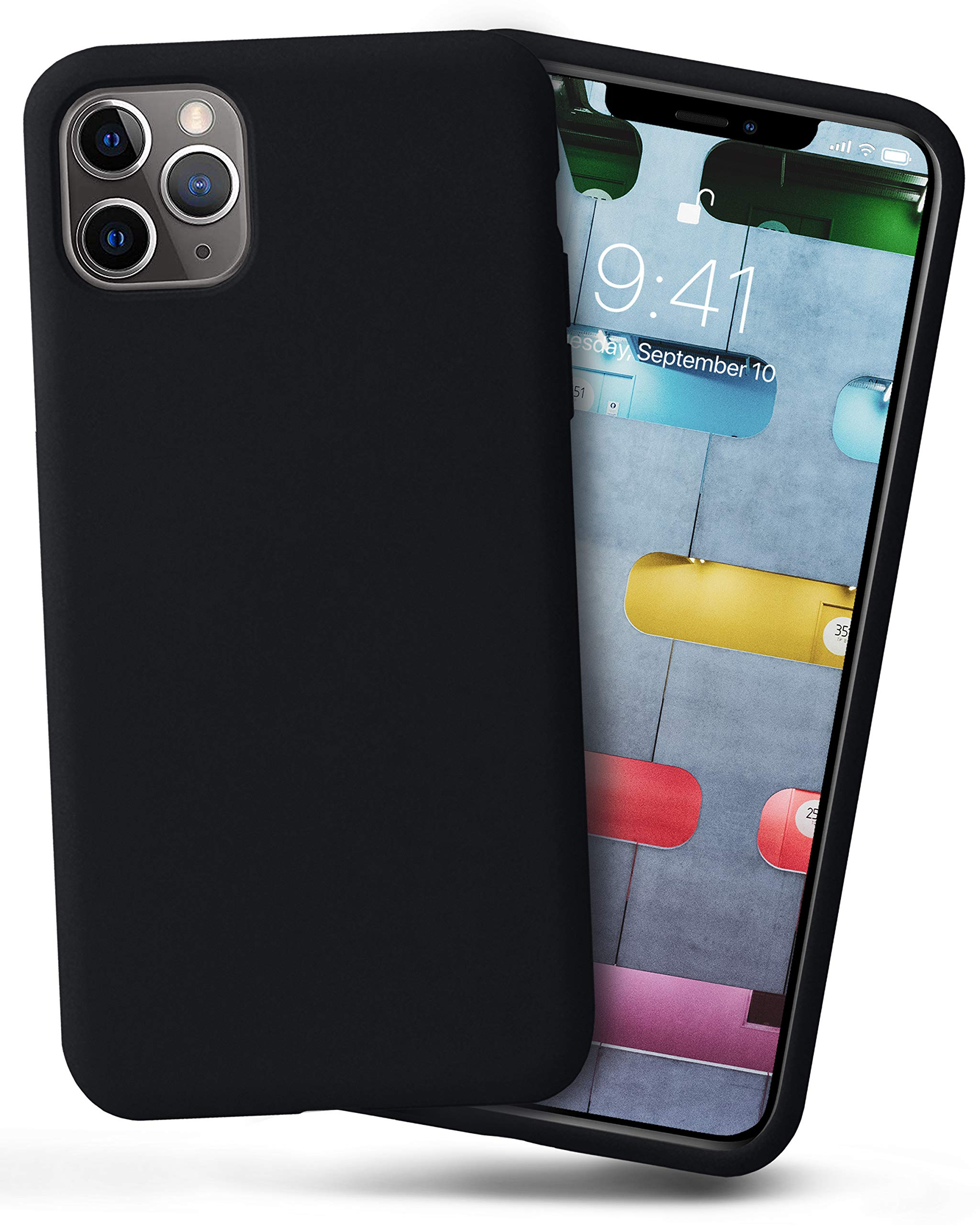 OCOMMO iPhone 11 Pro MAX Silicone Case, Full Body Shockproof Protective Liquid Silicone iPhone 11 Pro MAX Case with Soft Microfiber Lining, Wireless Charging Pad Compatible, Black
