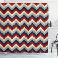 """Ambesonne Chevron Shower Curtain, Triangle Abstract Geometrical Detailed Retro Vintage Image, Cloth Fabric Bathroom Decor Set with Hooks, 75"""" Long, Baby Blue"""