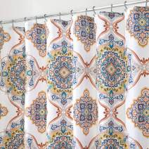 """mDesign Decorative Paisley Damask Print - Easy Care Fabric Shower Curtain with Reinforced Buttonholes, for Bathroom Showers, Stalls and Bathtubs, Machine Washable - 72"""" x 72"""" - Multicolor"""