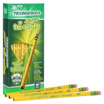 Ticonderoga Laddie Tri-Write Pencils, Wood-Cased #2 HB Soft, Intermediate Size Triangular with Eraser, Yellow, 36-Pack (13042)