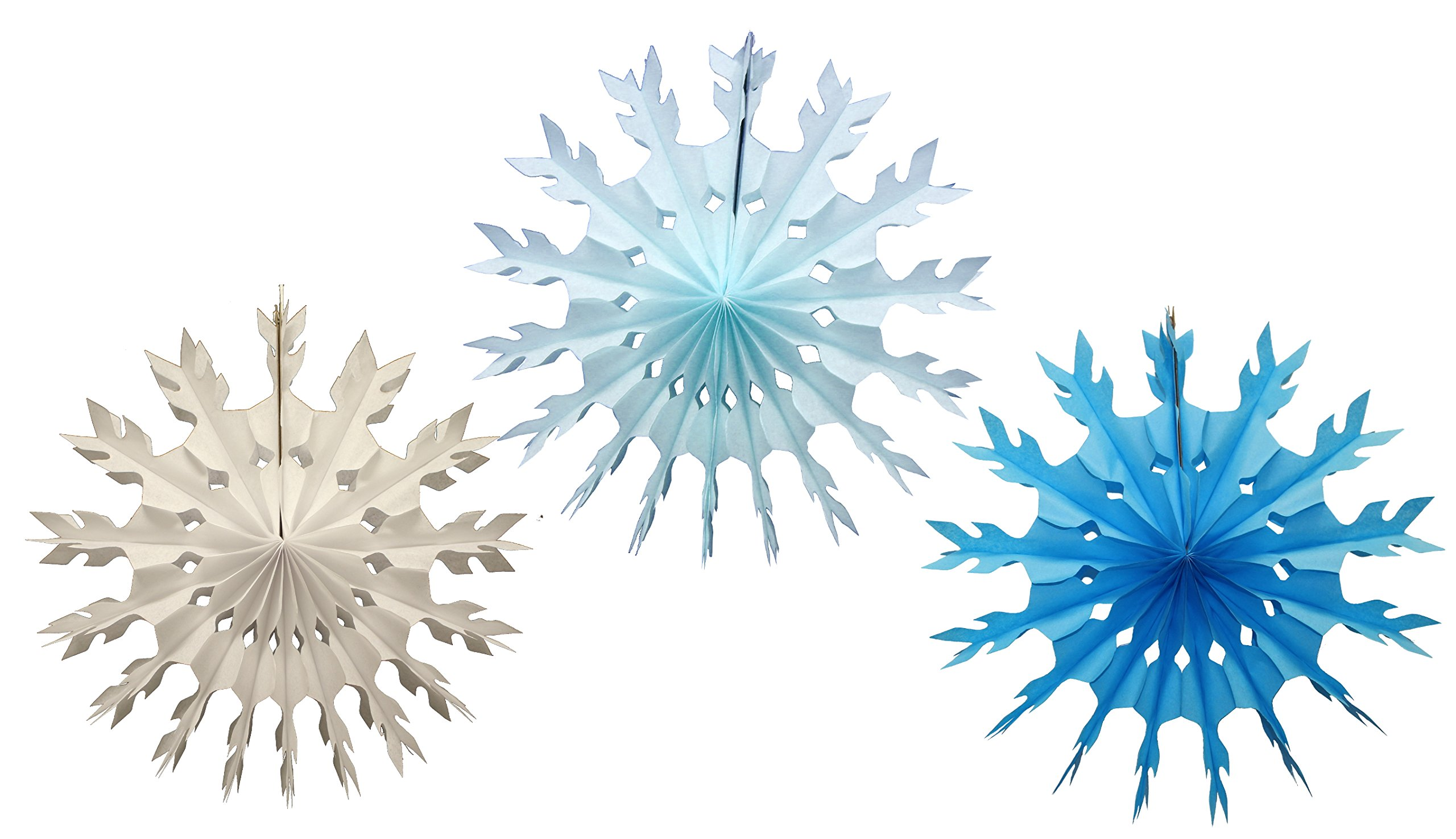 Set of 3 Small 15 Inch Tissue Paper Snowflake Decorations (Winter Mix - White, Light Blue, Turquoise)