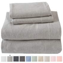 Jersey Knit Sheets. All Season, Soft, Cozy Twin Jersey Sheets. T-Shirt Sheets. Jersey Cotton Sheets. Heather Cotton Jersey Bed Sheet Set. (Twin, Light Grey)