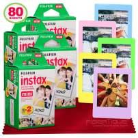 Fujifilm Instax Mini Instant Film (80 Sheets) Instax Mini + 5 Picture Frames + FiberTique Cleaning Cloth (USA Warranty)